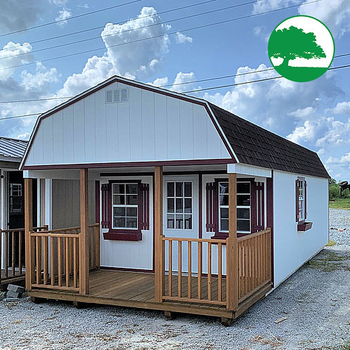"PRE-OWNED 12' x 28' Painted ""Lofted Cabin"""