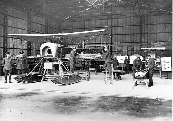 Very early photo of an amphibian biplane