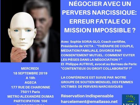 Conférence 18 septembre 2019 : Négocier avec un manipulateur, est-ce possible ?