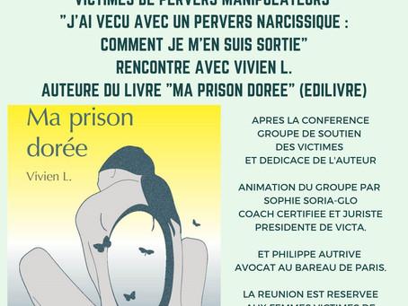 """Rencontre avec l'auteure de """"Ma prison dorée"""" et groupe de soutien des victimes le 19 juin 2019"""