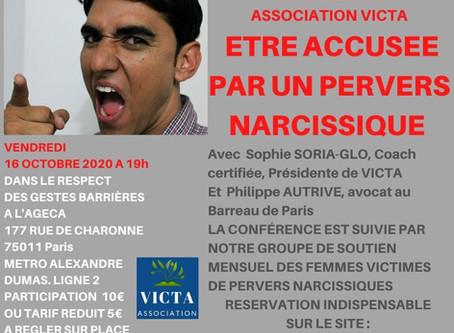 ETRE ACCUSEE PAR UN PERVERS NARCISSIQUE : 16 OCTOBRE 2020 CONFERENCE ET GROUPE DE SOUTIEN