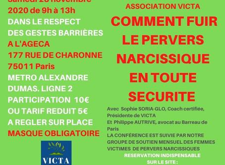 """COMMENT FUIR LE """"PN"""" EN TOUTE SECURITE:SAMEDI 28 NOVEMBRE 2020 A 9H CONFERENCE ET GROUPE DE SOUTIEN"""