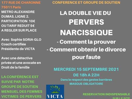 La double vie du Pervers Narcissique : conférence et groupe de parole le 15 septembre 2021 à 18h