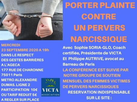 PORTER PLAINTE CONTRE UN PERVERS NARCISSIQUE LE 23 SEPTEMBRE 2020