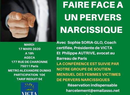 Conférence et groupe de soutien 17 mars 2020 : faire face à un Pervers Narcissique