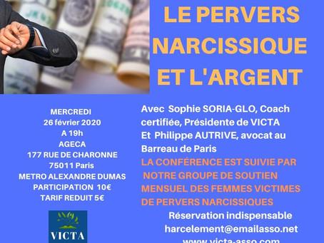 Conférence et groupe de soutien le 26 février 2020 : le Pervers Narcissique et l'argent