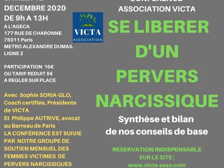 SE LIBERER D'UN PERVERS NARCISSIQUE : SAMEDI 12 DECEMBRE 2020 A 9H CONFERENCE ET GROUPE DE SOUTIEN