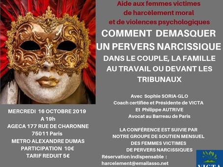 Conférence 16 octobre 2019 : démasquer un pervers narcissique (couple, famille,entreprise, Justice)