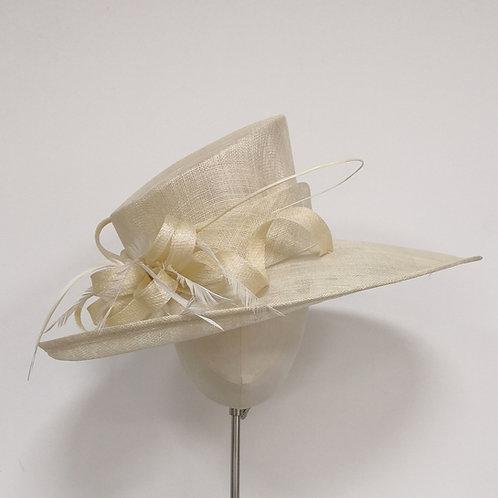 Cream Wide brim Hat