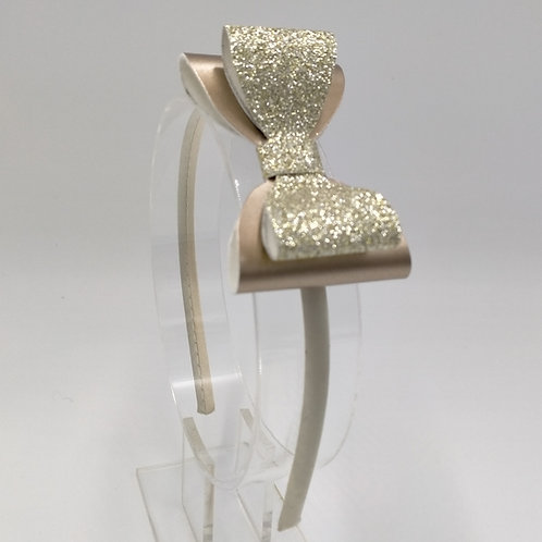 Ellie Glittery Champagne & Gold Double Bow Satin Headband