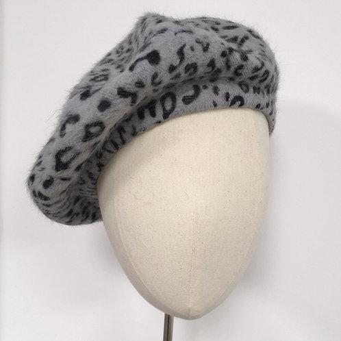 Cloud Grey Leopard Beret