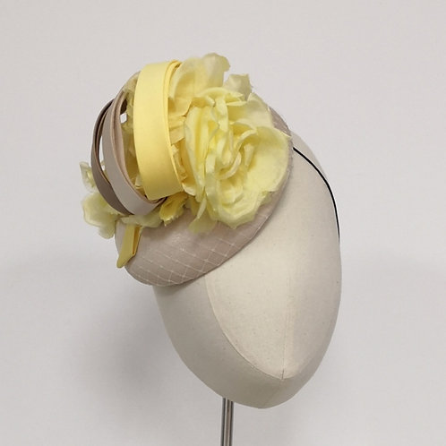 Beige Button with Yellow silk rose