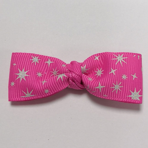 Glittery Pink Bow Clip