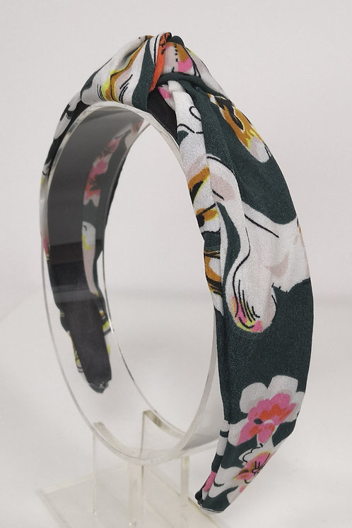 Knotted Green Floral Headband
