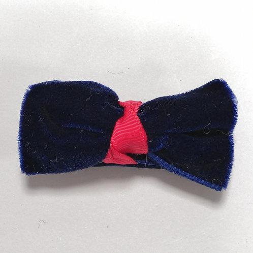 Navy Velvet Bow Clip