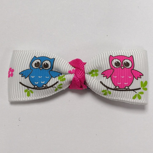 Blue & Pink Owl Bow Alligator Clip