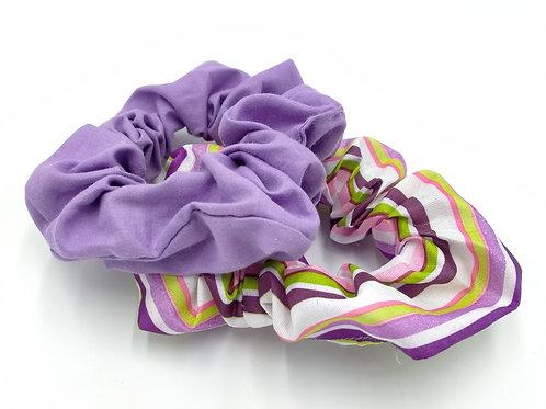 Lilac Stripey Scrunchie Duo