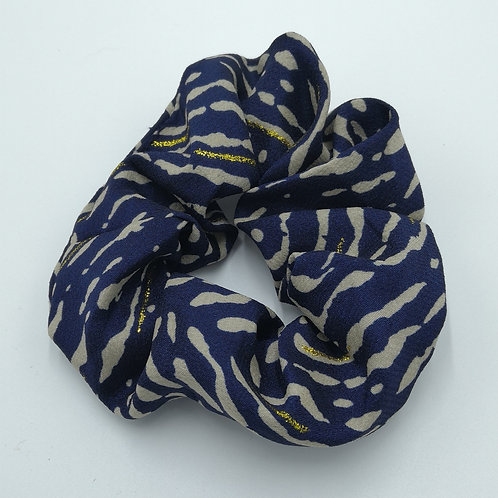 Indigo Blue Tiger Stripes Scrunchie