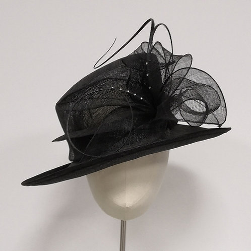 Black sinamay flower detail hat