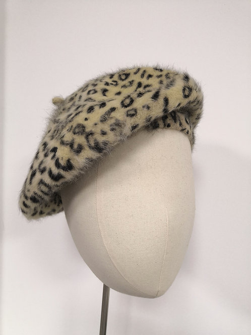 Whipped Cream Leopard Beret