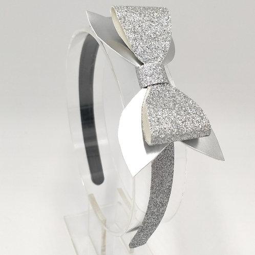 Luna Glitter Silver Bow Headband