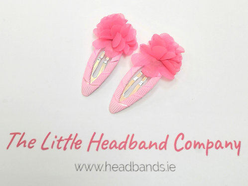 Pink Ruffles Snap Clips