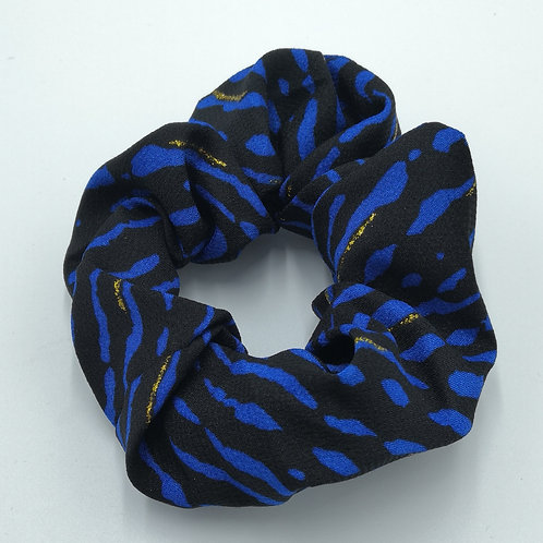Electric Blue Tiger Stripes Scrunchie