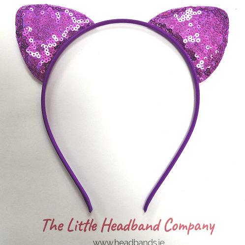 Glittery Cat Ears Headband - Purple