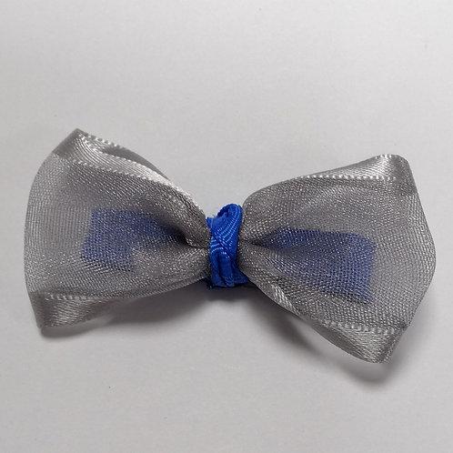 Silver Blue Bow Clip
