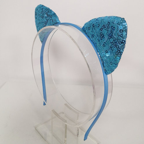 Glittery Cat Ear Headband - Blue