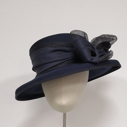 Navy Hat with Bow
