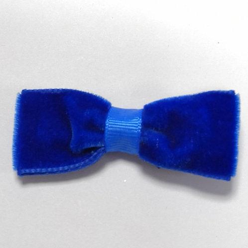 Blue Velvet Bow Clip