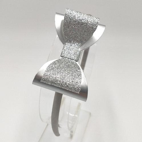 Ellie Glittery Silver Double Bow Satin Headband