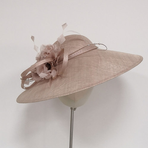 Pink Headpiece with swirls and silk flower