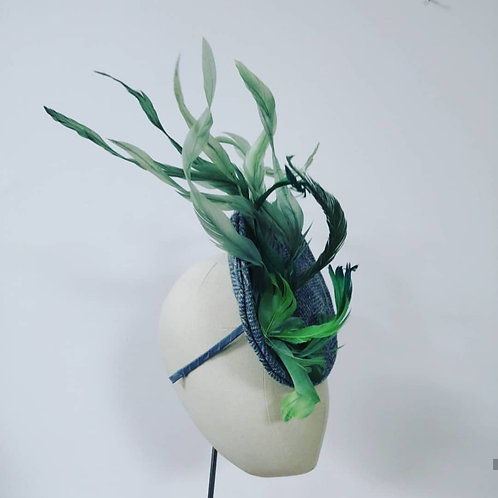Tweed Headpiece with green feathers