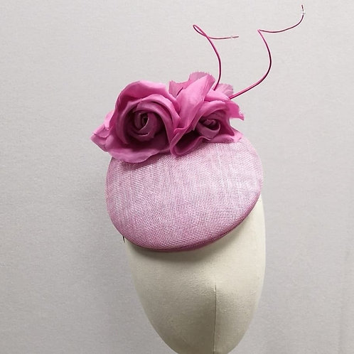 Pink Rose Button with Swirls