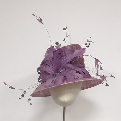 Lilac Hat with feathers