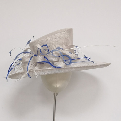 Wide Brim White Hat with blue feathers