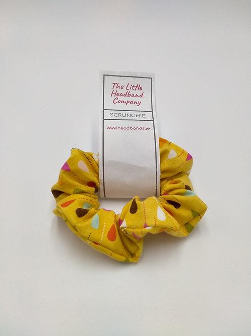 Yellow Multi Raindrops scrunchie