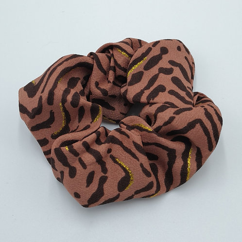 Dusty Brown Tiger Stripes Scrunchie