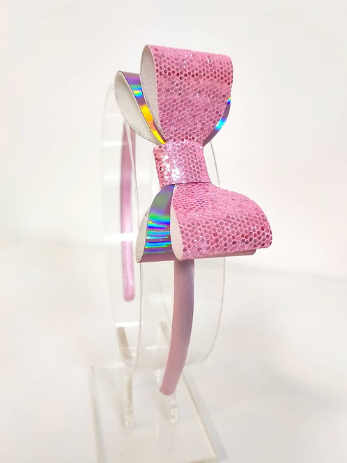 Ellie Holographic Pink Double Bow Satin Headband