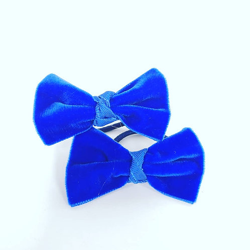 Royal Blue Velvet Bow Hair Ties