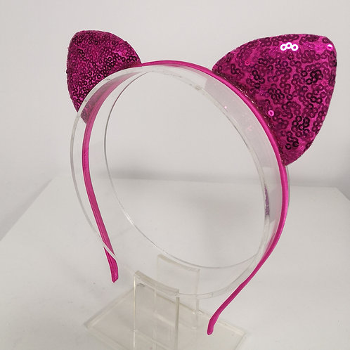 Glittery Cat Ear Headband - Hot Pink