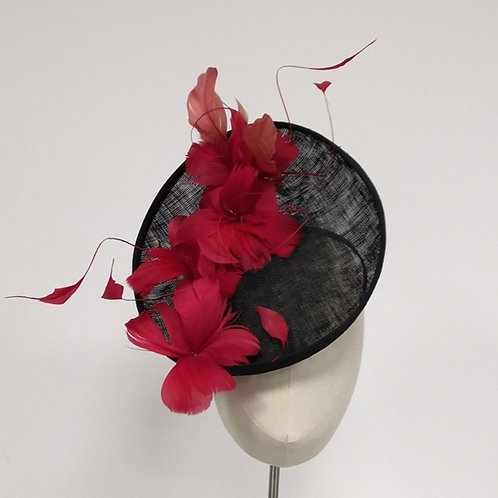 Black Headpiecewith red feathers