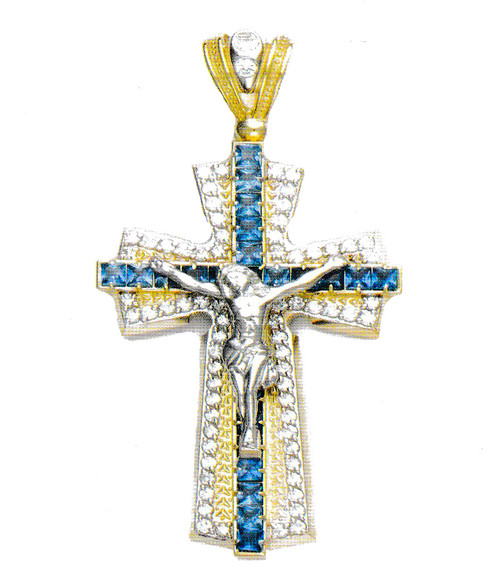 10k two tone gold cz crucifix cross pendant 226 grams 365in large this 10k yellow gold cross pendant is iced with high quality cz stones and weighs 226 grams it is 365 inches in height and 193 inches wide mozeypictures Choice Image