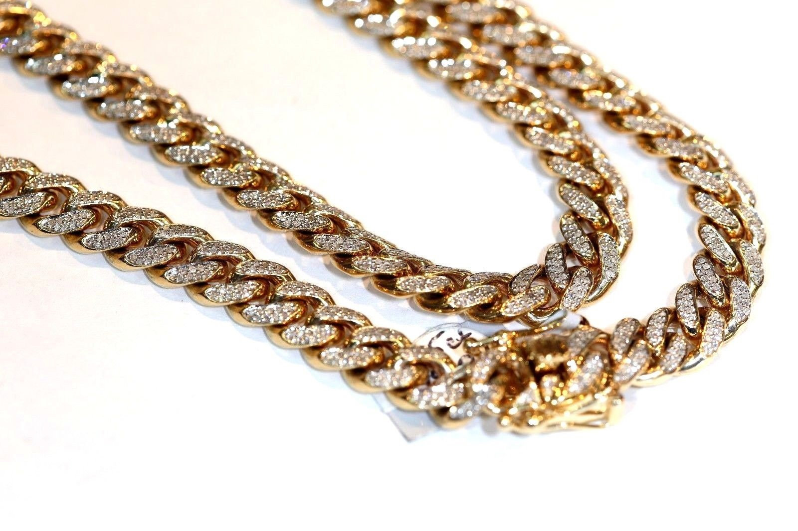 Cuban Link Chain For Sale >> 10k Gold 24 Cwt Diamond Cuban Link Chain 9mm Aqj