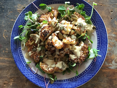 Recipe: Roasted Cauliflower Salad w/ Tahini Dressing