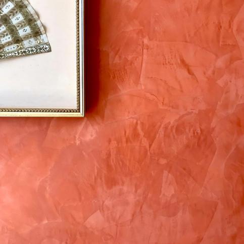 Blood orange venetian plaster stucco paint finish