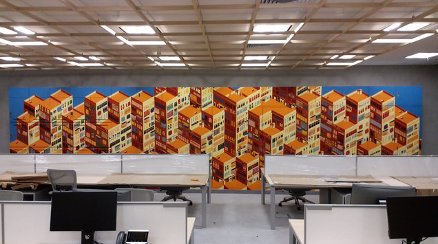 AXA geomatric office mural by Alex Croft
