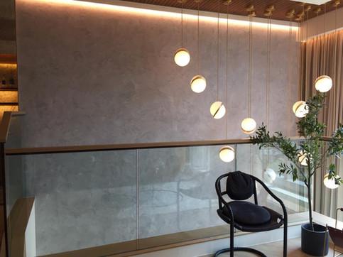 Semi-gloss grey venetian plaster finish